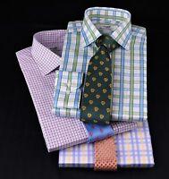 3x Blue Plaids & Checks Formal Business Dress Shirts Multi-coloured Ties Bundles