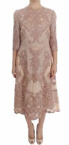 NEW-15600-DOLCE-amp-GABBANA-Dress-Pink-Silk-Lace-Ricamo-Shift-Gown-IT38-US4-XS