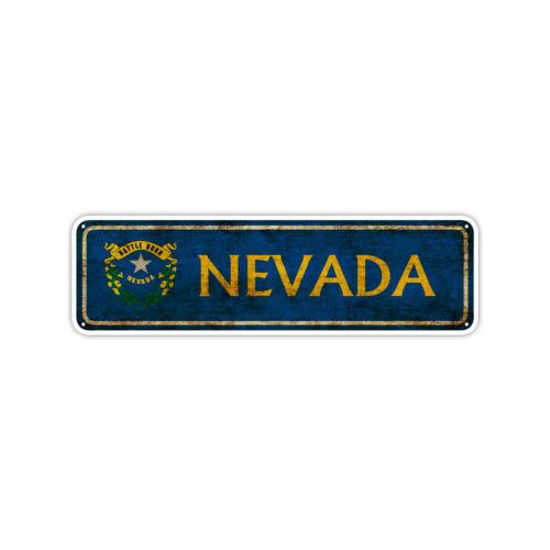 Nevada State Flag USA Wall Art Gift Vintage Retro Look Street Metal Sign