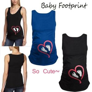 Baby-Cute-Women-Maternity-Vest-Footprint-Printed-Pregnant-T-shirt-Loose-Blouse