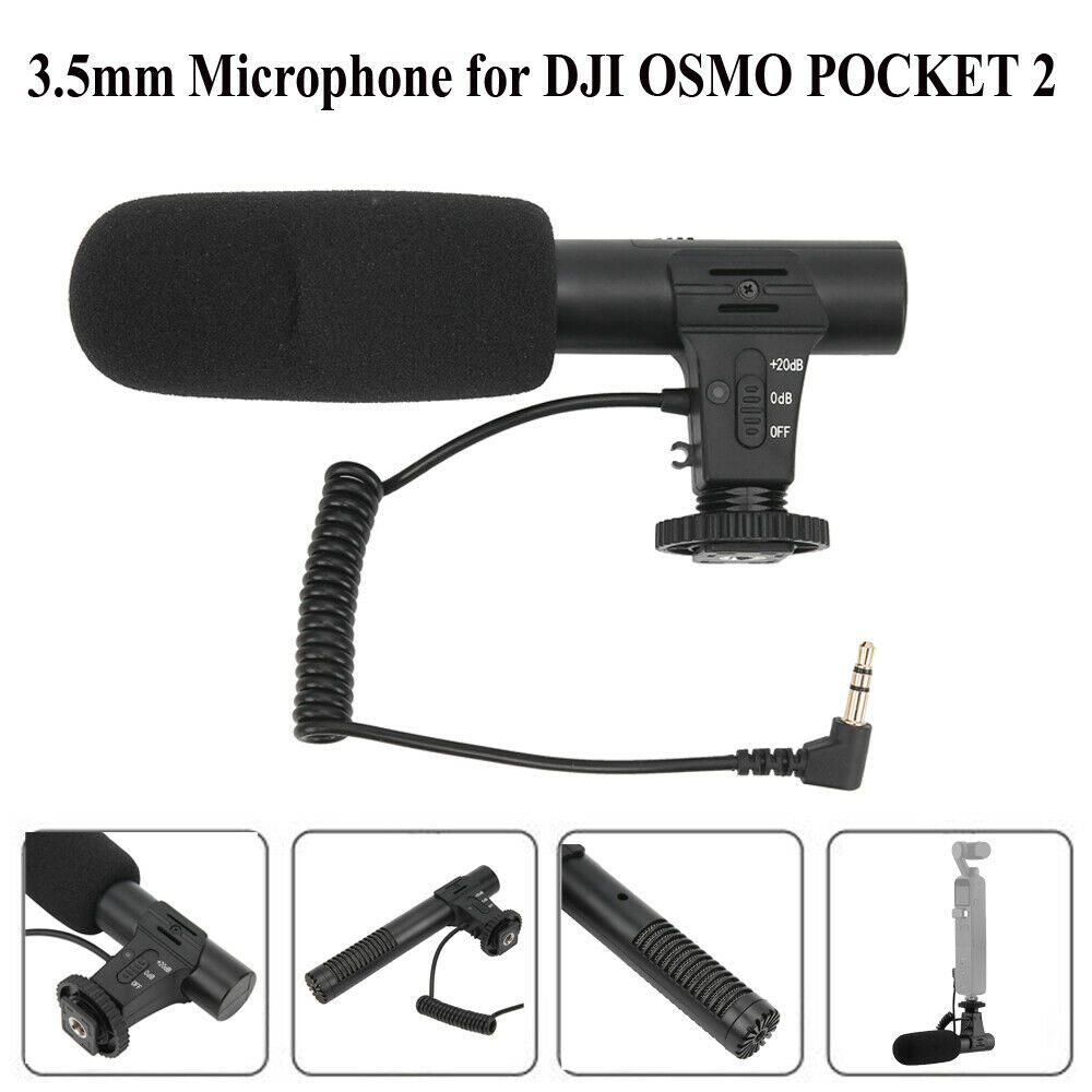 3.5mm Stereo Condenser Hypercardioid Microphone Recording for DJI OSMO POCKET 2