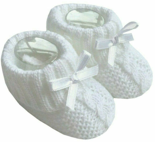 Newborn Baby Booties Knitted Cable Bow Spanish Romany White Boy Girl  Soft Touch