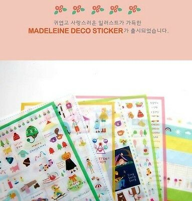 6 sheet PVC Cute MADELEINE Diary Album Decorative Adhesive Sticker DIY Decal