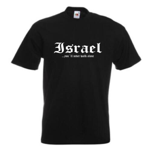 T-Shirt ISRAEL never walk alone bedrucktes Fanshirt WMS01-28a