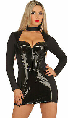 Elegantes schulterfreies Lack Mini Kleid mit Halsband schwarz Ledapol
