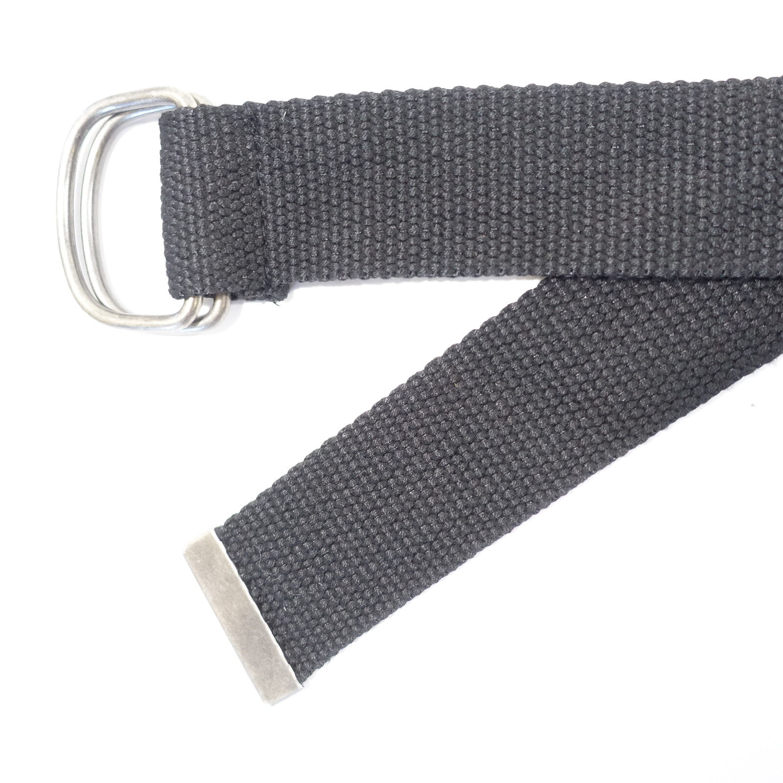 Black One Size Military Style Linen Double D O Web Belt Mens New