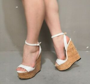 Wedge-High-Heel-Platform-Slingback-Sandals-Peep-Toe-Buckle-Ankle-Strap-Shoes