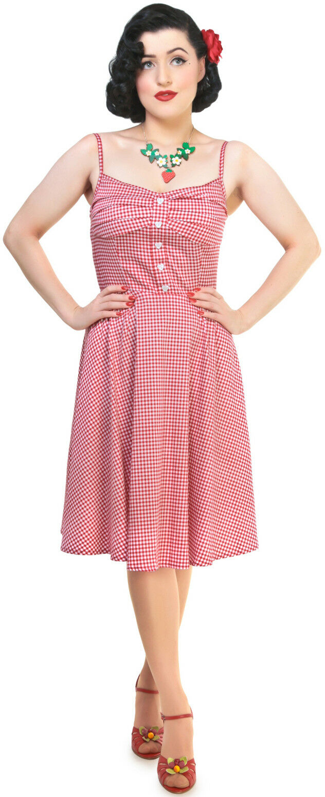 Collectif FAIRY Picnic Gingham Doll Straps Vichy Pin Up SWING Kleid Rockabilly