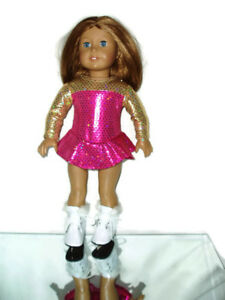 2-pc-Pink-amp-Gold-Ice-Skating-Outfit-fits-American-Girl-Dolls-18-034-Doll-Clothes
