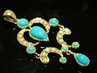 CP245 Genuine 9ct Solid Gold, NATURAL Turquoise & Pearl Chandelier Drop Pendant
