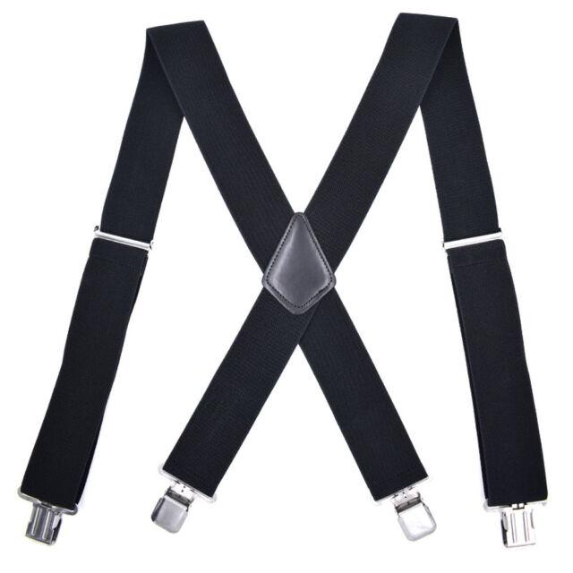 Mens Suspenders X-Back 3.5cm Wide Adjustable Solid Straight Clasps Suspenders