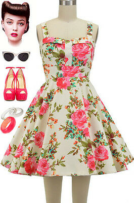 50s Style PINK ROSE FLORALS Fold Over Bust Bombshell PINUP Full Skirt Sun Dress