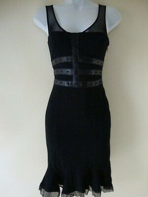 NWT BEBE DOUBLE KNIT TRIPLE LEATHER WAISTBAND DRESS SIZE 00