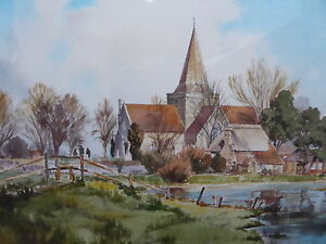 WATERCOLOUR-ALFRISTON-CHURCH-ARTIST-R-A-SHERRINGTON-FREE-SHIPPING-TO-ENGLAND