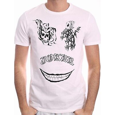 OFFICIAL DC COMICS SUICIDE SQUAD THE JOKER TATTOO SMILE WHITE T-SHIRT (NEW)