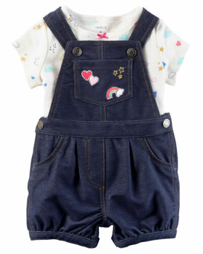 NB /& 6 M 2 Piece Tee /& Shortalls Outfit Set NWT Carters Baby Girl