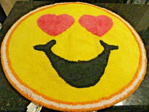 "New Smiley Face Emoji Yellow 26/"" round Bath RUG Cotton Pink Heart FUN Cheerful"