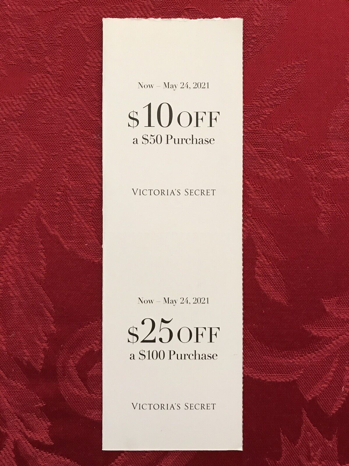 (2) Victoria's Secret Coupons ~  off  purchase ~  Off 0 Purchase