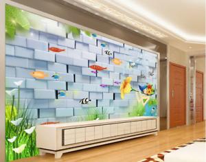 3D Girl Flower Fishs 8 Wall Paper Murals Wall Print Wall Wallpaper Mural AU Kyra