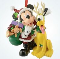 Disney Parks Christmas Santa Mickey Mouse With Pluto Ornament With Tag