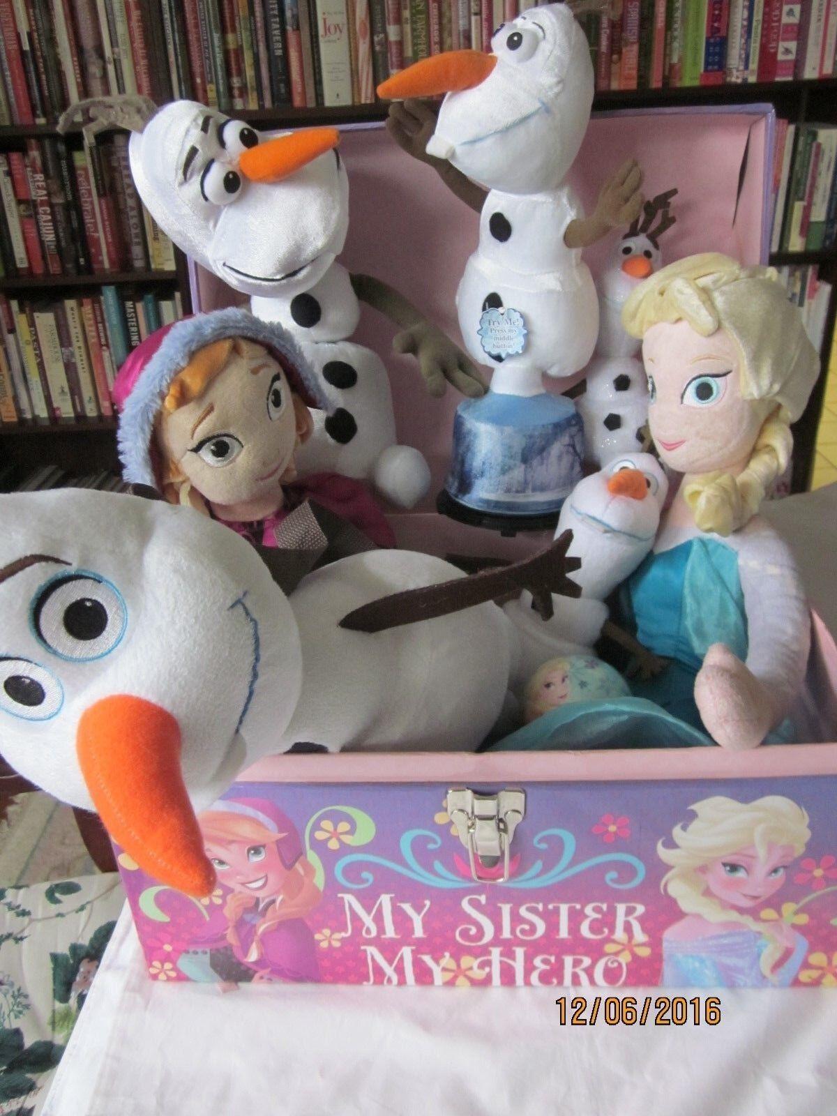 Lote de Frozen  Queen Elsa, muñeca de juguete de 24 pulgadas Grande Almohada & 5 Olafs