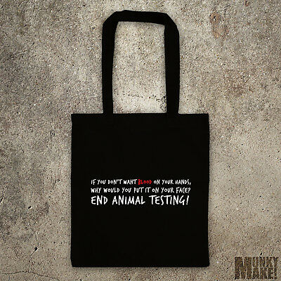 STOP ANIMAL TESTING tote shopper bag, cruelty free, vegan Animal Rights ALF