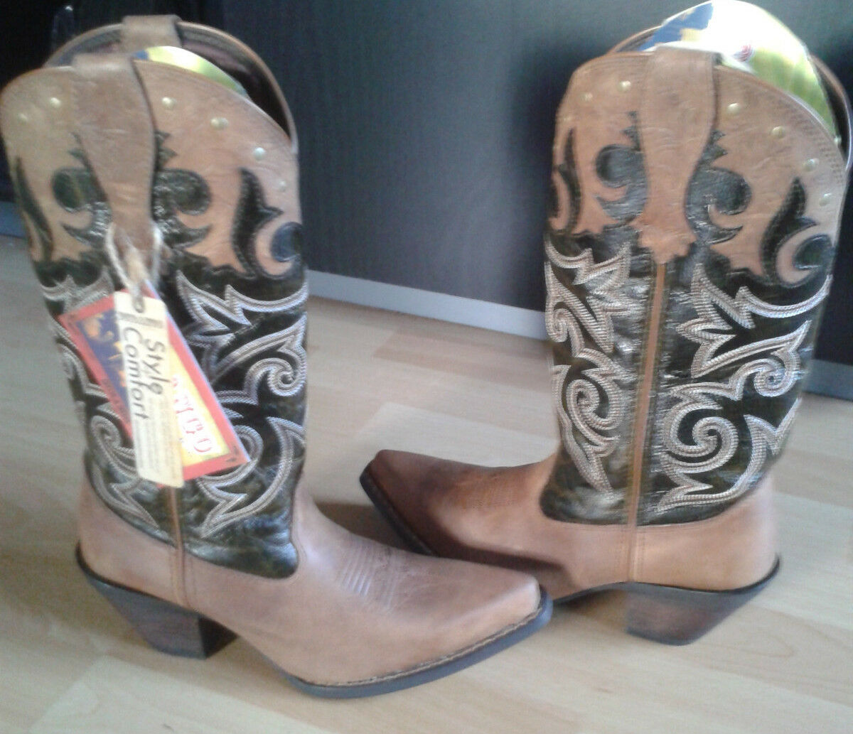 Cowboystiefel, Westernstiefel Westernstiefel Westernstiefel US Gr. 6,5 Stiefel Damen Stiefel braun TOP    33fb29