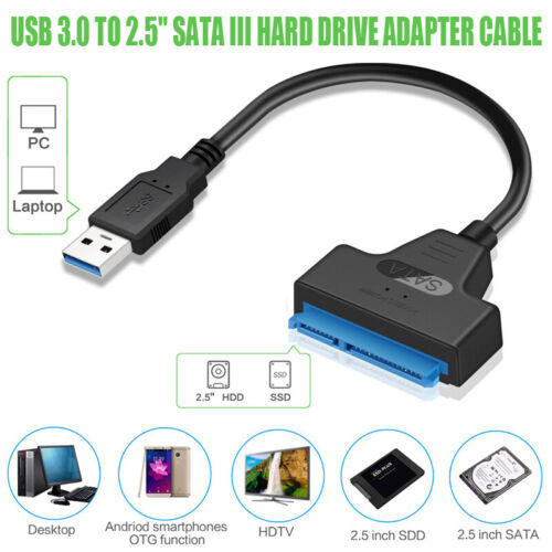 "USB 3.0 to 2.5/"" SATA III Hard Drive Adapter Cable//UASP Converter Fit For SSD//HDD"