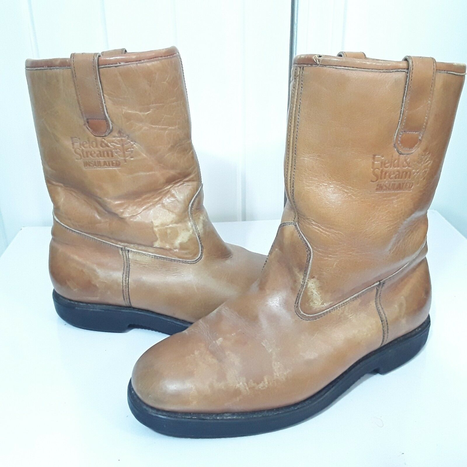VTG USA MASON FIELD & STREAM MENS BROWN LEATHER INSULATED BOOTS SZ 8.5 EE