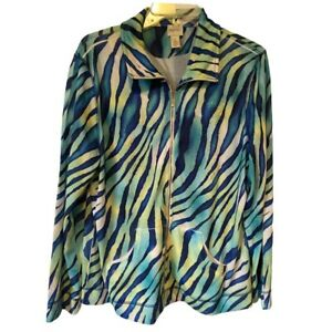 Zenergy-By-Chicos-Womens-Jacket-Blue-Green-Tiger-Zip-Up-Pockets-Large-New