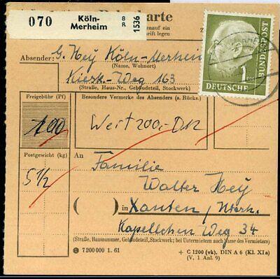 427513) Bund Paketkarte Aus Köln-merheim 1961 Mit Nr. 194 Mangelware
