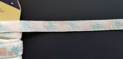 """Pink /& Pale Blue Embroidered 5//8/"""" Wide Trim by the Yd Vintage Trim"""