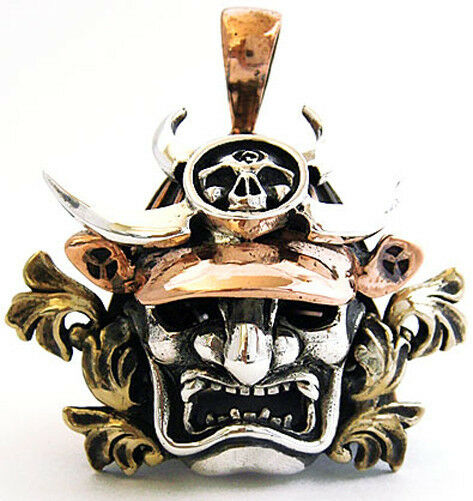 Japanese Samurai Warrior Mask Bushido Armor Pendant Charm 925 Sterling Silver