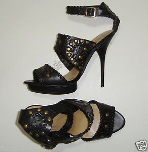 GORGEOUS-SIREN-BLACK-LEATHER-HIGH-HEELED-SHOES-9-034-MEERKAT-034-Tribal-style