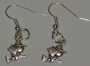 Tibetan-Silver-Cute-Flying-Witch-Charm-Earrings