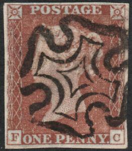 1841-SG8-1d-RED-BROWN-PLATE-37-VERY-FINE-USED-4-MARGIN-MALTESE-CROSS-IVORY-FC