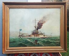 1869 JOHN SCOTT antique british painting us civil war navy battleship maritime