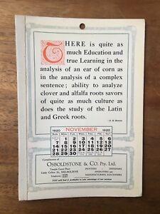 ANTIQUE-NOVEMBER-1920-CALENDAR-OSBOLDSTONE-CO-MELBOURNE-PRINTER-O-H-BENSON