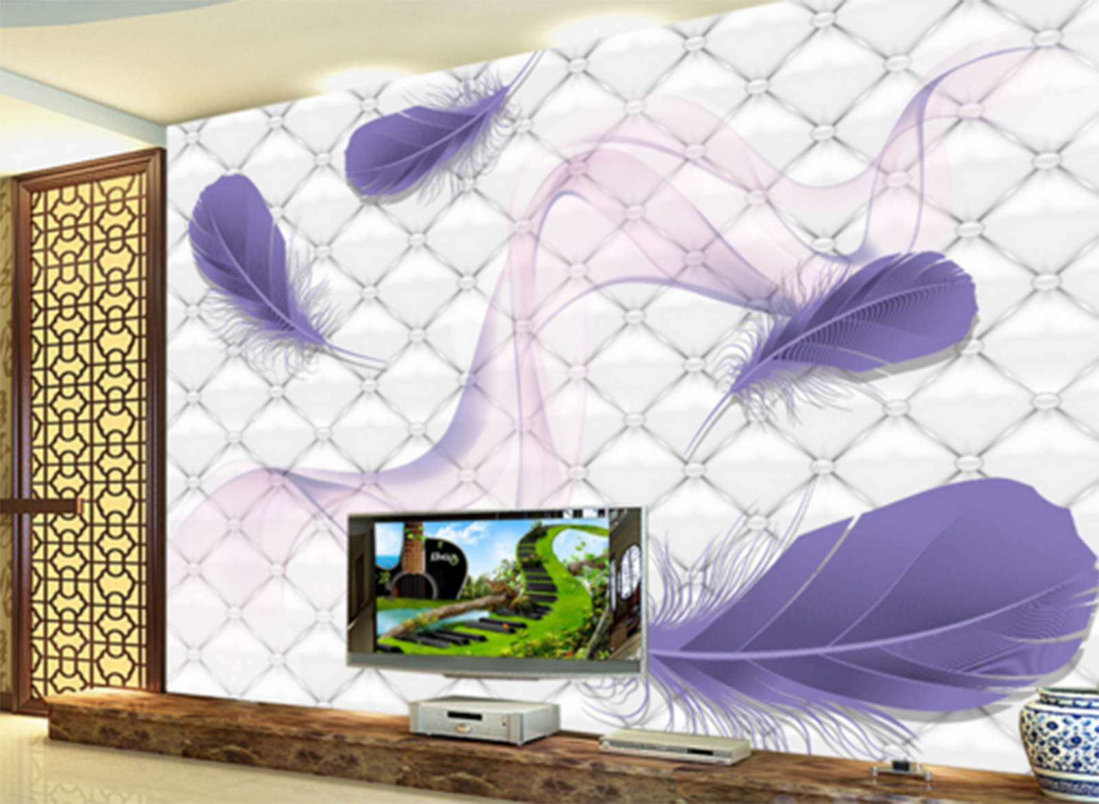 3D lila Feathers Adorn Paper Wall Print Wall Decal Wall Deco Indoor Murals