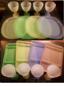 Image Is Loading Tupperware Impressions Pastel RARE Set Dining Trays Plates