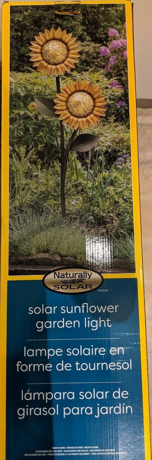 GTX Solar Sunflower Garden Light with Solar Panel Garden Decor