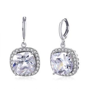 4518728837178 Details about Silver Cushion Cut CZ Halo Leverback Dangle Drop Earrings