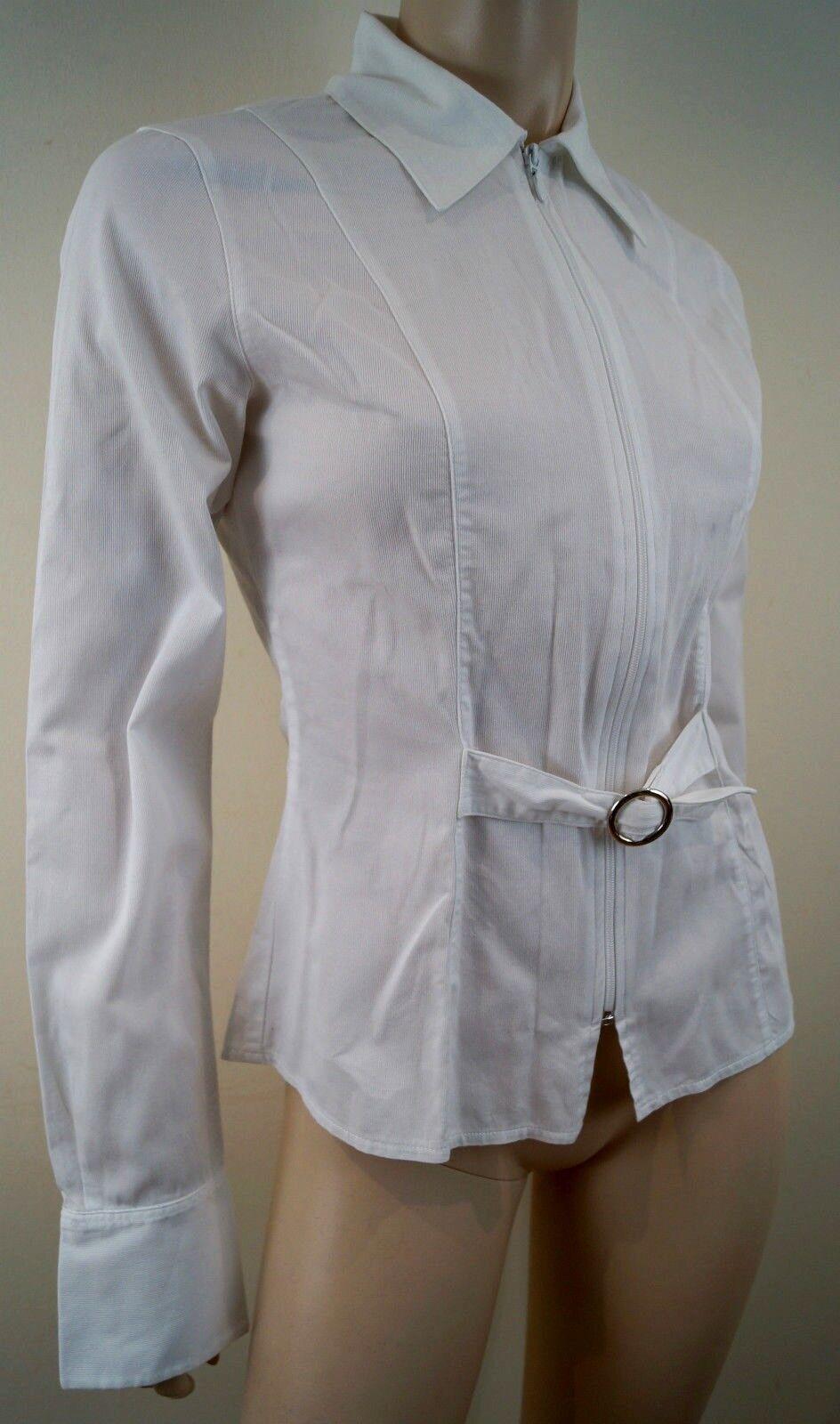 ANNE FONTAINE en Coton Weiß Silber Boucle à col à manches longues Chemisier Shirt Top 1