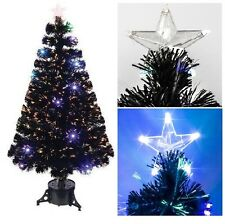 1.2M(4ft) Black Fibre Optic Christmas Tree With Coloured LED & Star With Stand