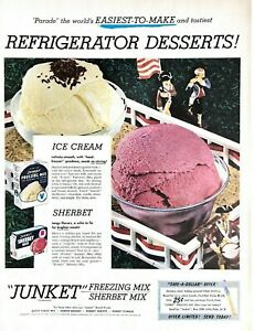 1952 Junket Freezing Mix Sherbet Mix Vintage Print Ad ice Cream Easiest To Make