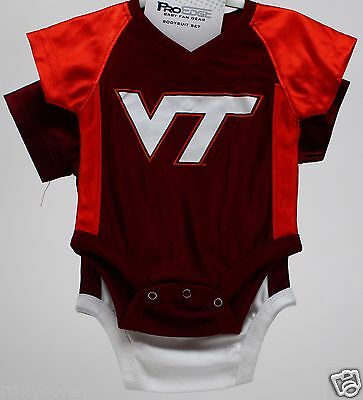 ProEdge Virginia Tech VT Hokies Maroon Orange 2 pk Short Sleeve Bodysuit 0-3 mos