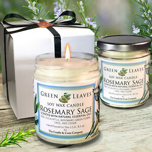 Handmade-Two-Soy-Candles-that-smell-AMAZING-8-5oz-Rosemary-Sage-Gift-Box