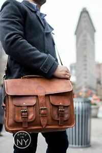 18-034-Vintage-Briefcase-Messenger-Bag-Shoulder-Men-New-Satchel-Soft-Leather-Lapto