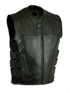 Motorcycle Bikers Leather Swat Style Vest With Double Gun
