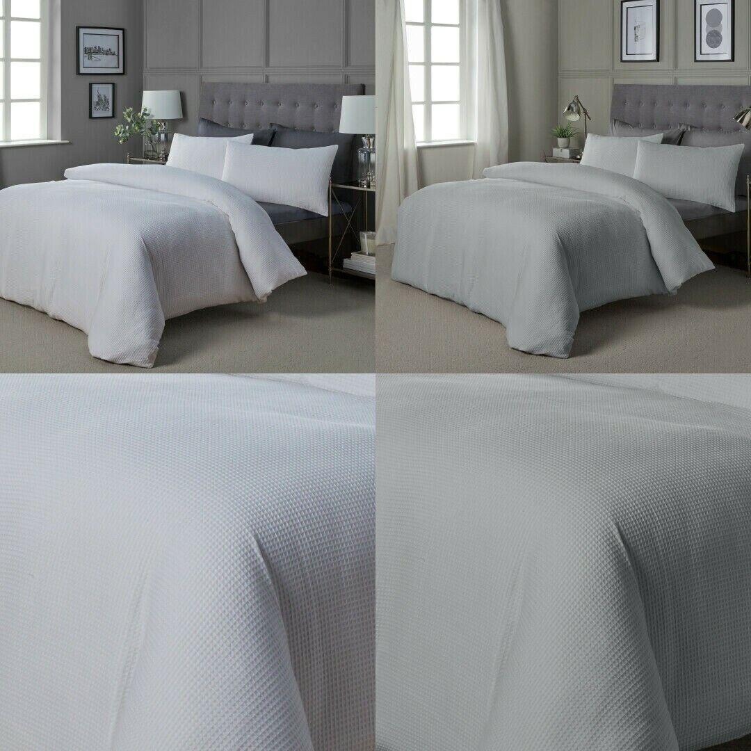 100 Hotel Quality Cotton Blend Reversible Waffle Fabric Duvet Cover Set Ebay
